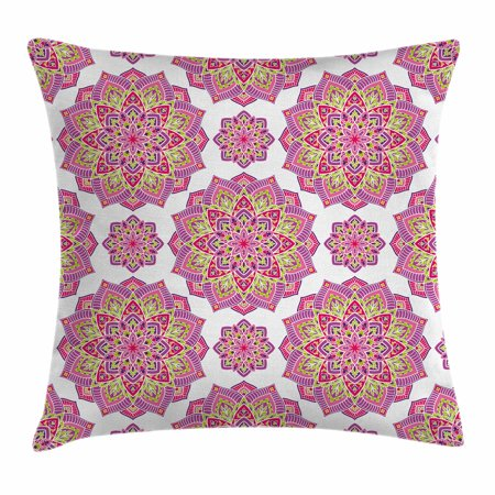 Purple Mandala Throw Pillow Cushion Cover, Shabby Chic Lotus Flower Style Meditation Essence Pattern, Decorative Square Accent Pillow Case, 16 X 16 Inches, Lime Green Fuchsia Pink White, by Ambesonne