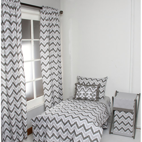 Bacati - Ikat 4-Piece Toddler Bedding set 100% Cotton percale,  Zigzag Grey