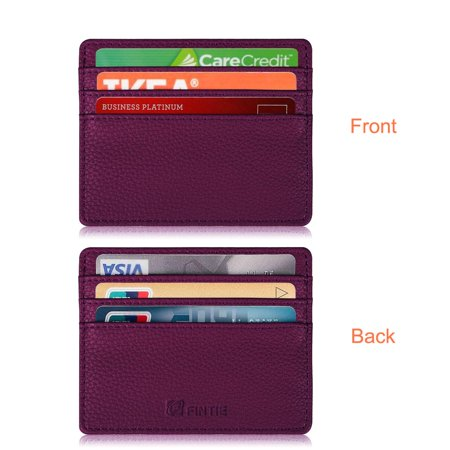 Fintie Credit Card Holder W  6 Card Slots   Rfid Blocking Pu Leather Ultra Slim Wallet Credit Card Case Sleeve  Purple