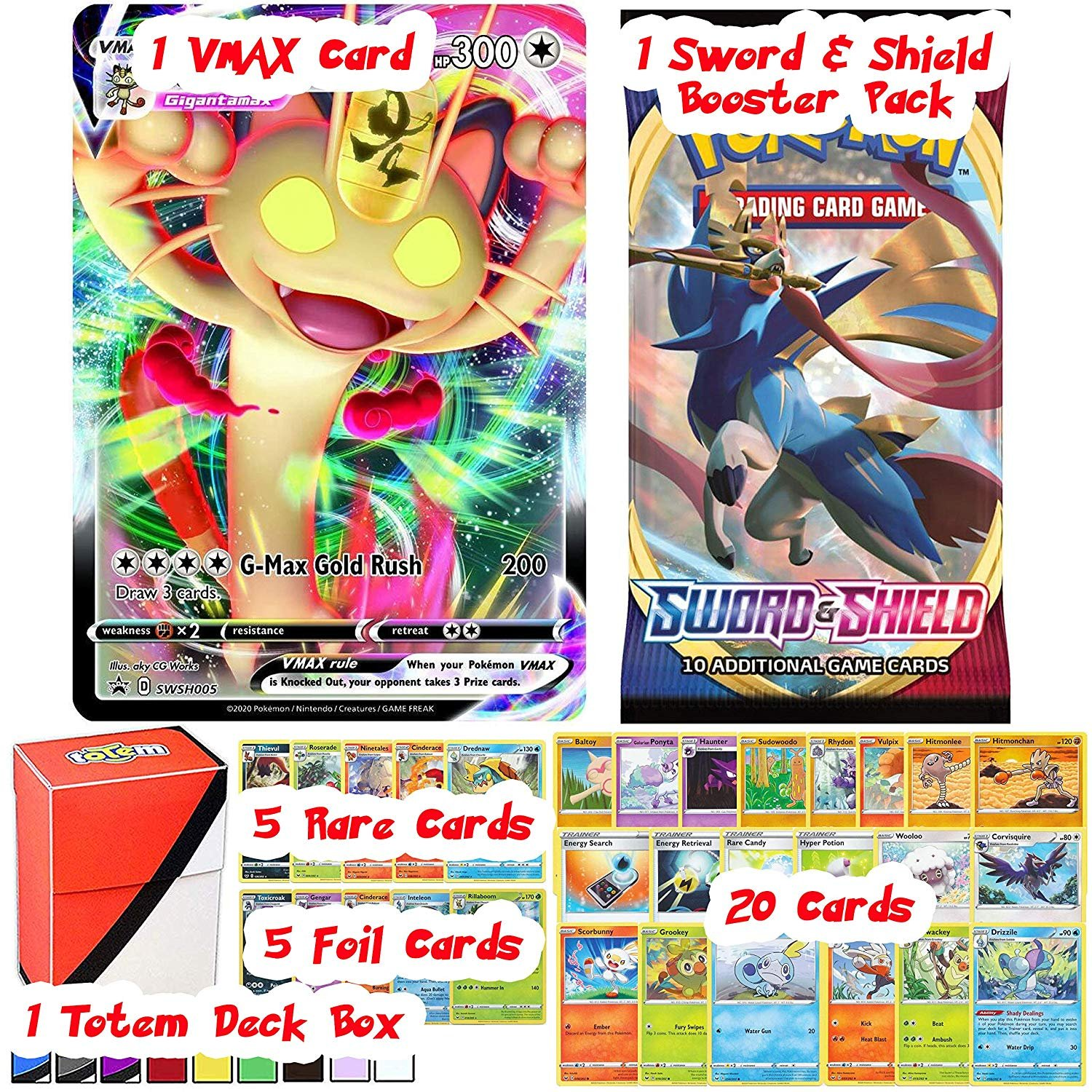 Totem World Sword and Shield VMAX Card Guaranteed with Booster Pack, 5  Rare, 5 Foil Holo, 20 Regular Pokemon Cards and Totem Deck Box -  Walmart.com - Walmart.com