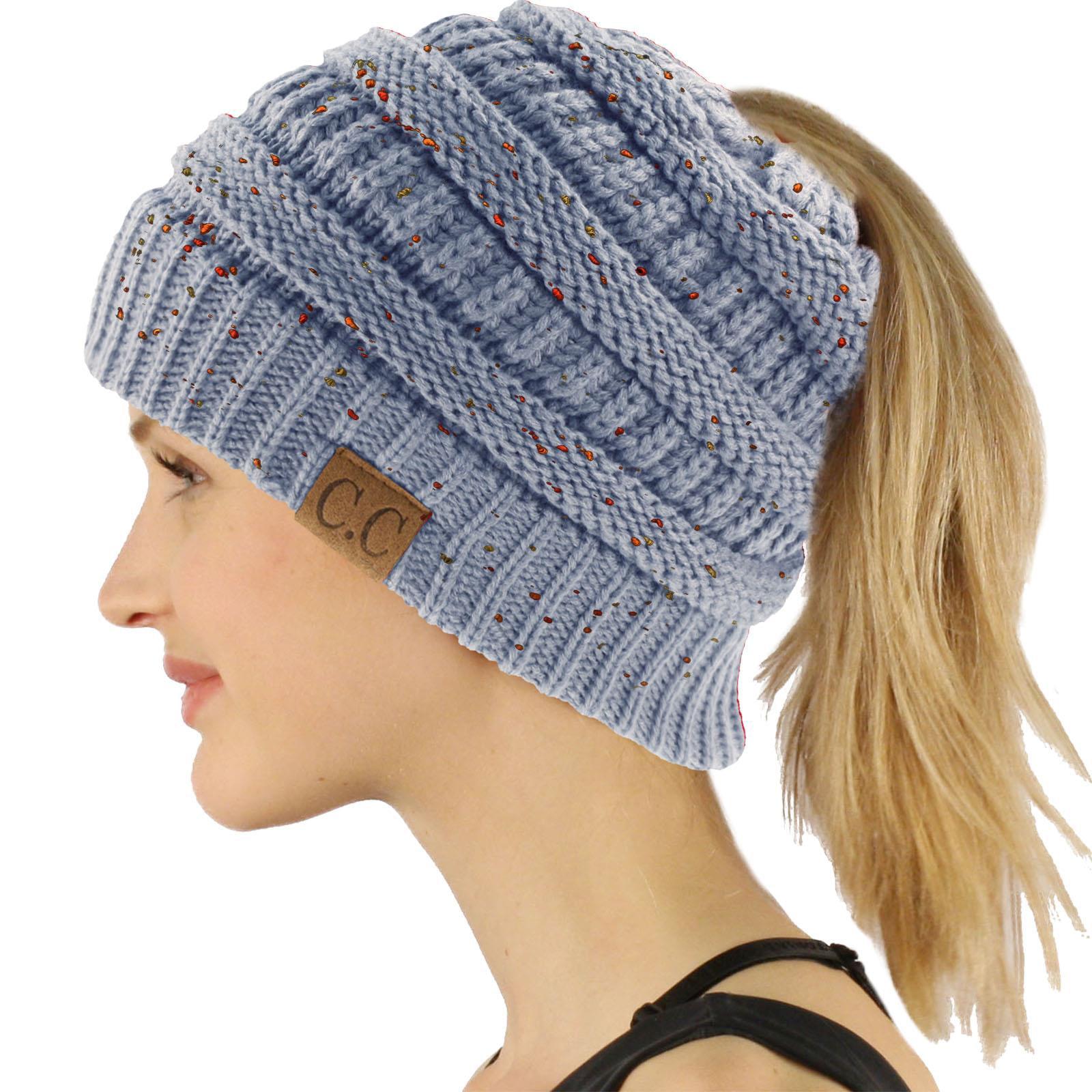 a9ea441493e C.C BeanieTail Soft Stretch Cable Knit Messy High Bun Ponytail Beanie Hat