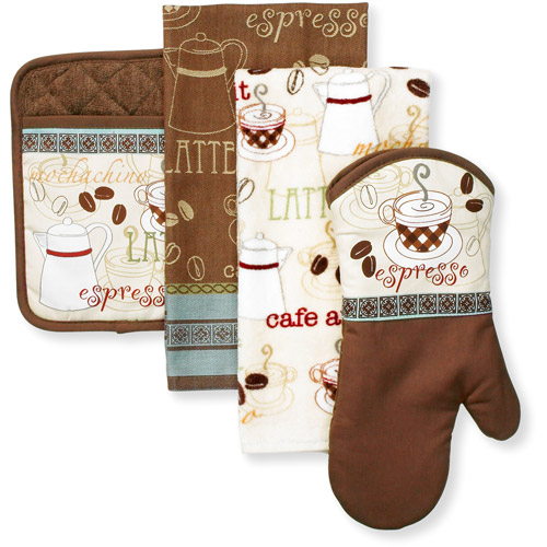 Better Homes and Gardens Cafe 4-piece Kitchen Towel and Mitt Set