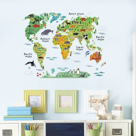 1.97x2.95ft Colorful World Map Kids Room Office Wall Sticker ...