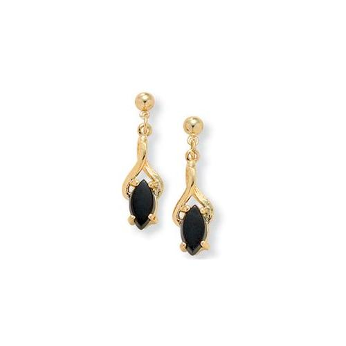 PalmBeach Jewelry 6162_ Marquise-Shaped Genuine Onyx 14k Yellow Gold-Plated Drop Earrings