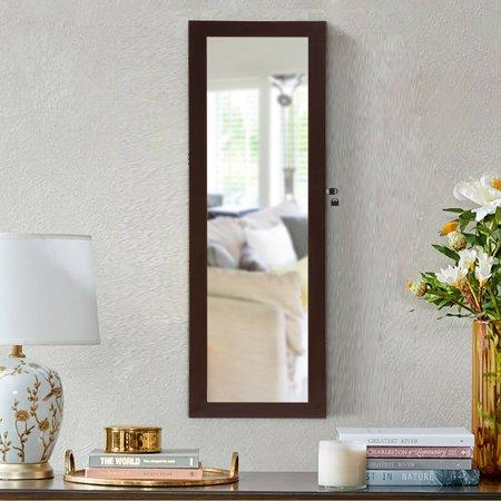 Costway Lockable Wall Door Mounted Mirror Jewelry Cabinet Armoire Organizer w/LED Lights - image 4 de 10