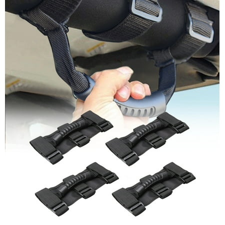 Universal Easy-to-fit Grab Handles, Heavy Duty Ultimate Roll Bar Grab Handles Set for Jeep Polaris Honda Yamaha Kawasaki UTV & ATV Roll Bars, Pack of 4