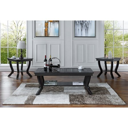 3 Piece Classic Traditional Living Room Coffee Table And Side Tables Set Espresso