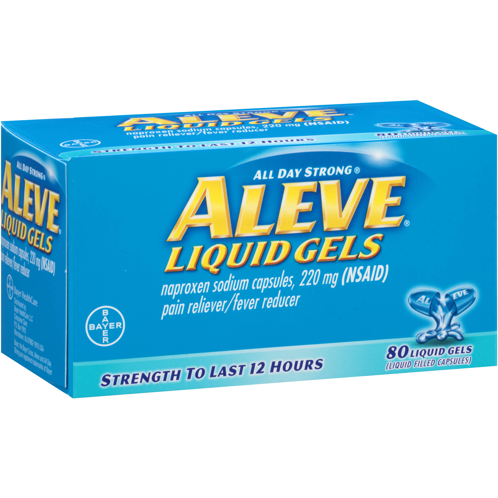 Aleve Pain Reliever/Fever Reducer Naproxen Sodium Liquid Gels, 220mg, 100 count