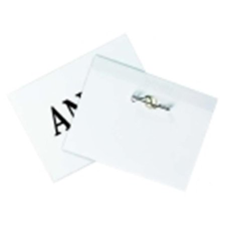 Times Up 4 x 3 in. Pin Name Badge Kit With Laser Inkjet Printable Insert, Plastic, Clear, Pack - 100 Laser Name Badge