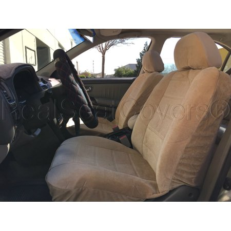 Chevrolet Cruze Seat - A35 DELUXE Thick Heavy Protective Fabric w/ Smooth Textured 12mm Thick Padded Triple Stitched Seat Cover Front Pair 4pc Set for CHEVROLET CRUZE Beige, Tan