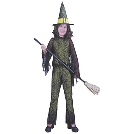 Girls Halloween Fancy Dress (Girls Funky Witch Green Kids Child Fancy Dress Party Halloween Costume, L)