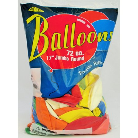17 Inch Balloons, 7 Color Assortment, Helium Quality Latex, 17
