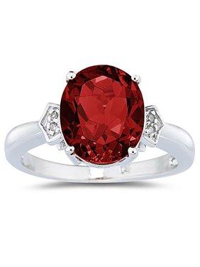 Garnet & Diamond Ring in 10k White Gold