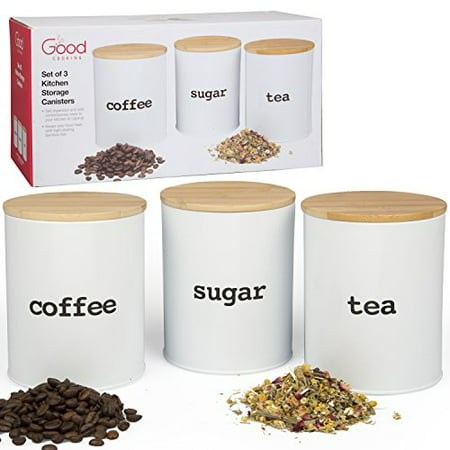 Decorated Storage Canisters (Kitchen Canister Set with Air Tight Bamboo Lids- 3 Food Storage Containers for Coffee, Tea and Sugar )