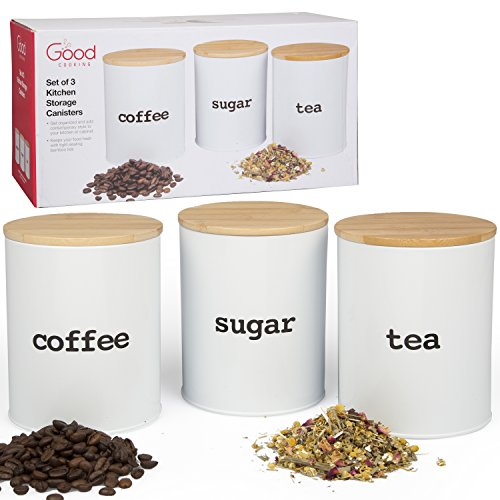 Set of 3 Tea Coffee Sugar Kitchen Storage Jars