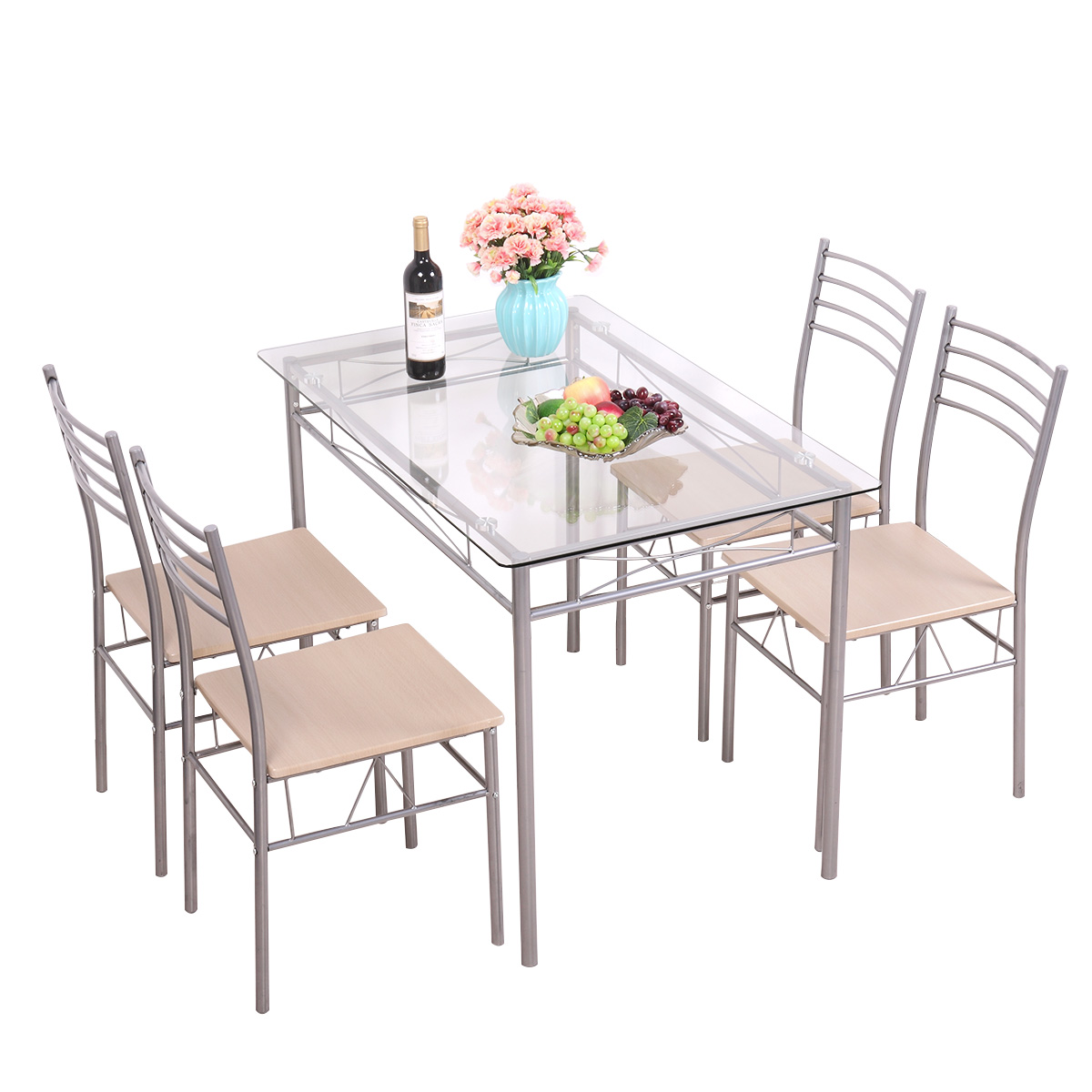 Jaxpety 5 Piece Dinning Set Glass Top Table and 4 Chairs Kitchen Breakfast Furniture Silver