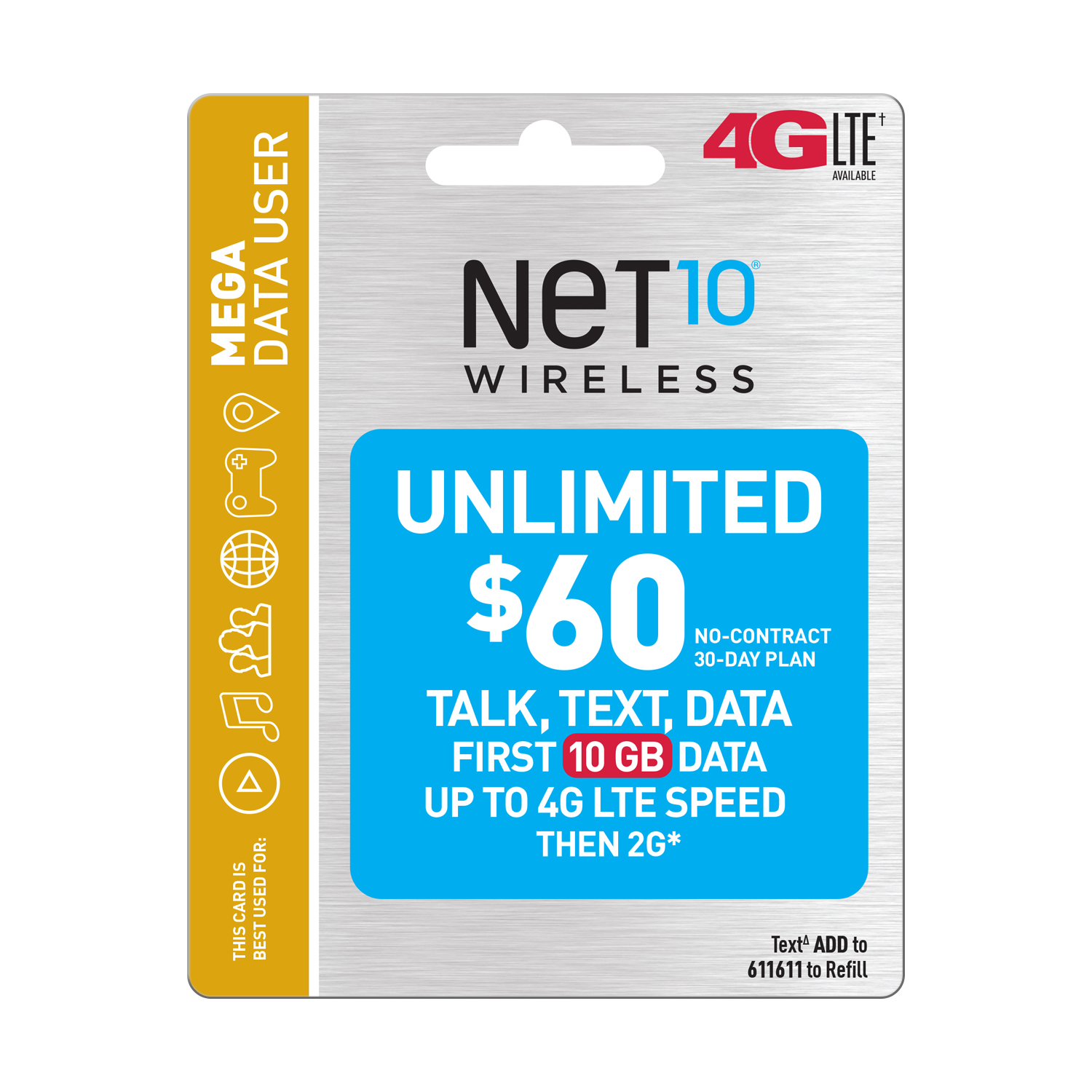 Net10 $60 Unlimited 30 Day Plan (10GB of data at high speed, then 2G*) (Email Delivery)