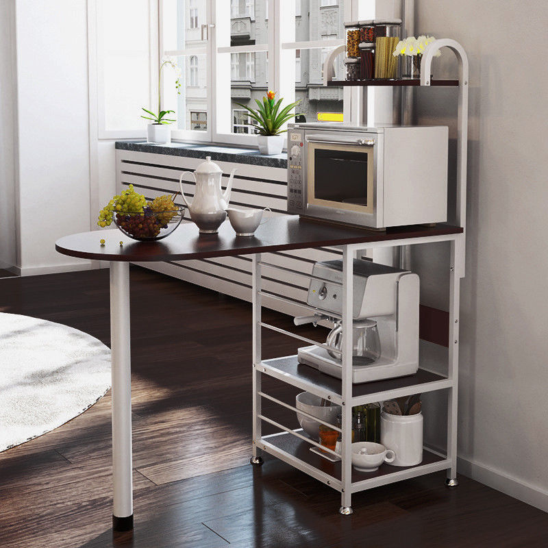 Kitchen Island Metal Dining Baker Cabinet Basket Storage Shelves Organizer  Dark Walnut Wood   Walmart.com