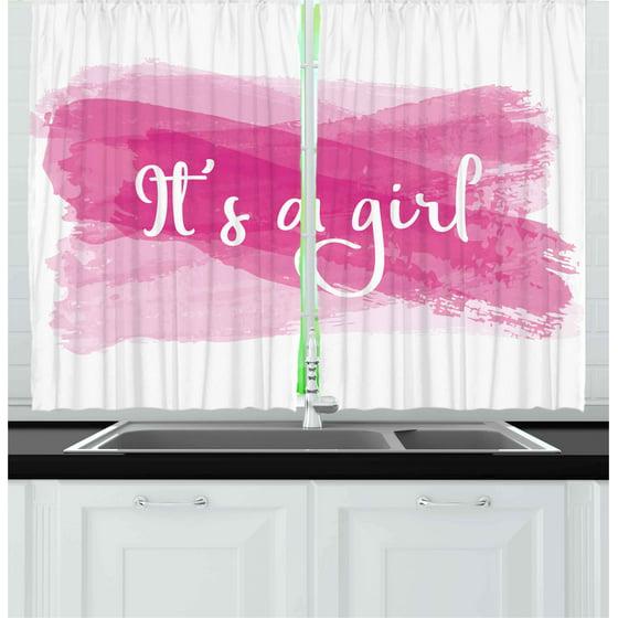 Gender Reveal Curtains 2 Panels Set, Girls Baby Shower Family New ...