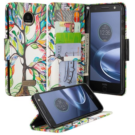 Graduation Money Tree (Moto Z Force Droid Case, Wrist Strap Flip Folio [Kickstand] Pu Leather Wallet Case with ID & Credit Card Slots & Money Pocket - Vibrant)