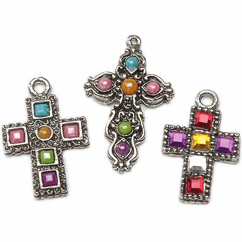 Rhinestone Cross Charms, 3 Assorted, Antique, Silver