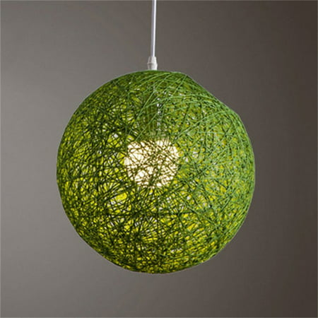 Round Concise Hand-woven Rattan Vine Ball Pendant Lampshade Light Lamp Shades Light Accessories(15cm Diameter) Green