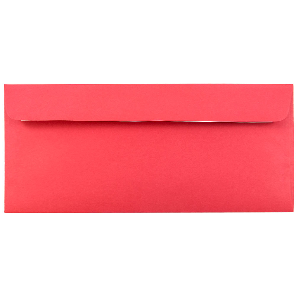 JAM Paper #10 Business Envelope with Self Adhesive Closure, 4 1/8 x 9 1/2, Brite Hue Christmas Red, 25/pack