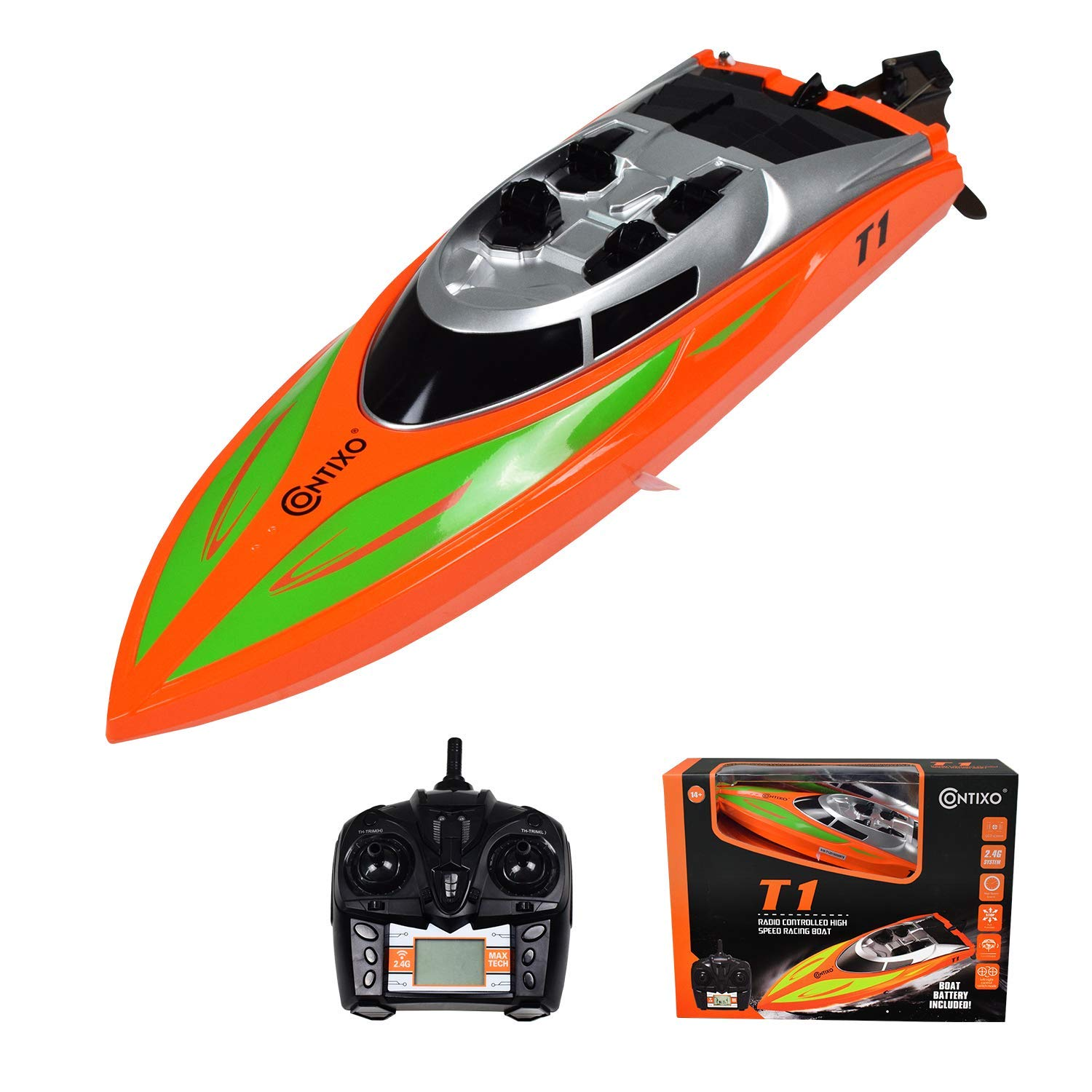 Contixo T1 RC Remote Control Racing Boat | High-Speed Pool Toy Ship (Orange)