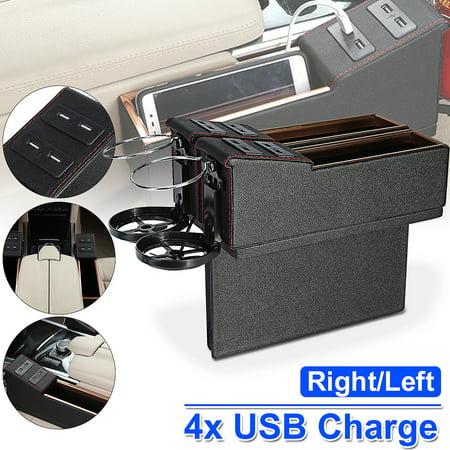 Car Vehicle Seat Side Slit Pocket Catcher 4 USB Ports Cup Storage Slit Pocket Organizer Holder PU Leather
