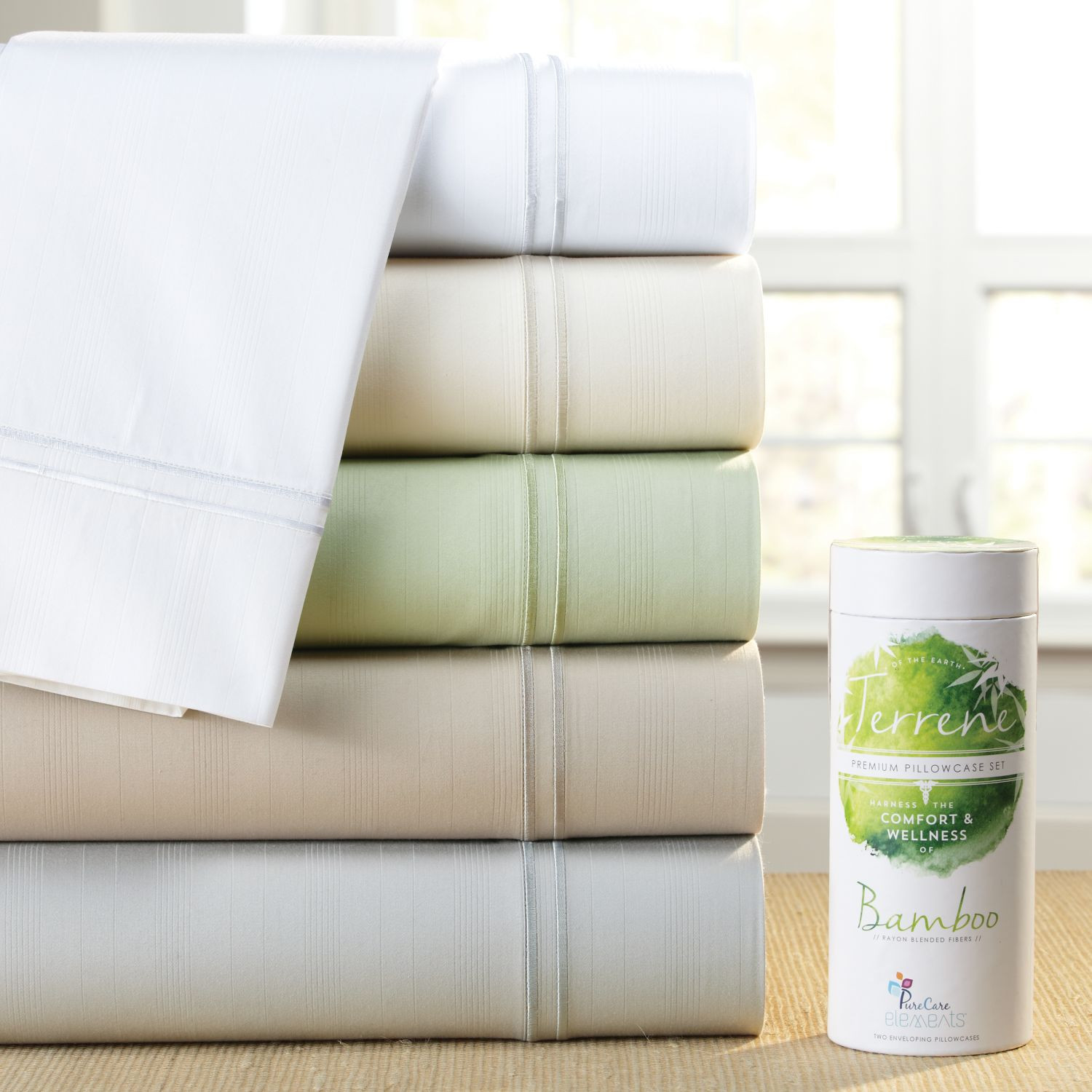 PureCare Elements Terrene Bamboo & Cotton 400T Sateen Pillowcases Sage