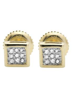 10K Yellow Gold 5MM Square Kite 1/20th ct. Genuine Diamond Stud Earrings