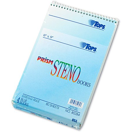 TOPS Prism Steno Books, Gregg, 6 x 9, Blue, 80 Sheets, 4 (Esselte Corporation Steno Book)