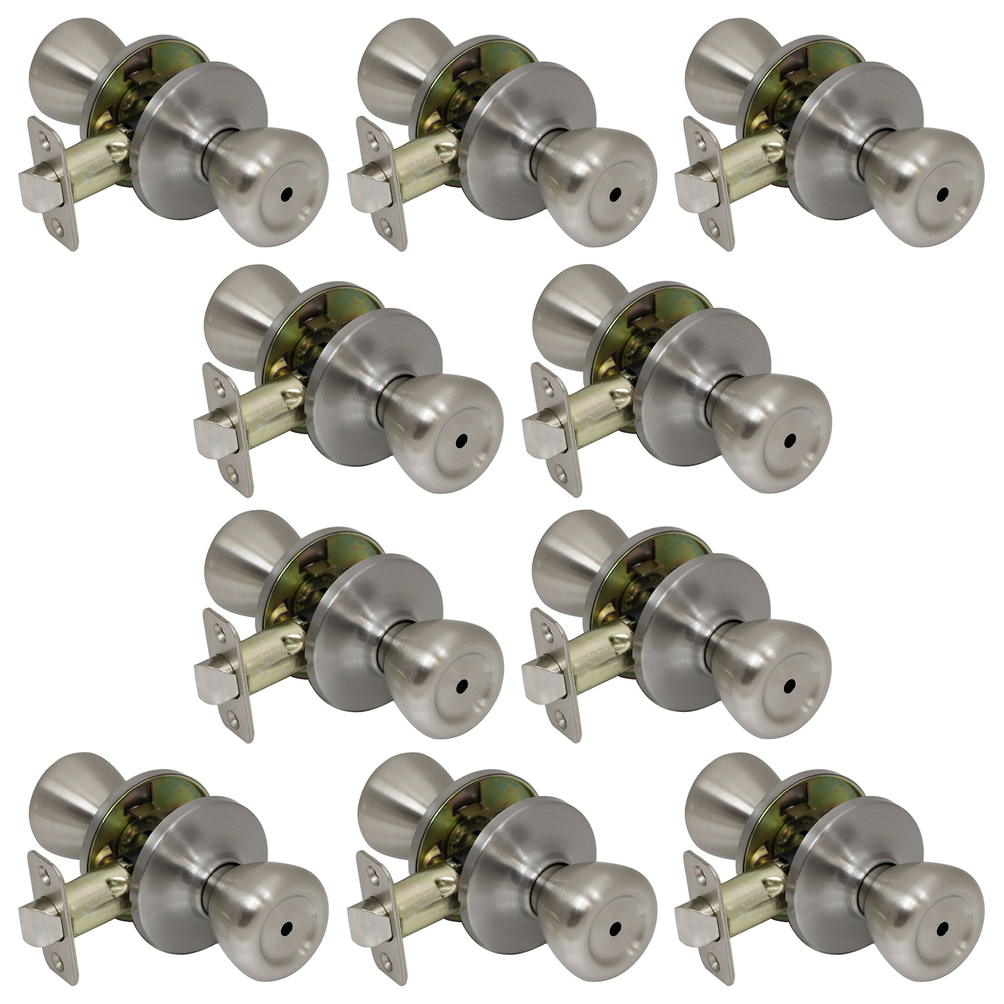 10 Pack of Pro-Grade Classic Privacy Bed Bathroom Door Knobs Handles, Satin Nickel