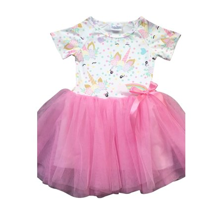 Little Girl Dress Kids Cap Sleeve Unicorn Mesh Summer Flower Girl Dress Pink 2T XS (Little Kiss)