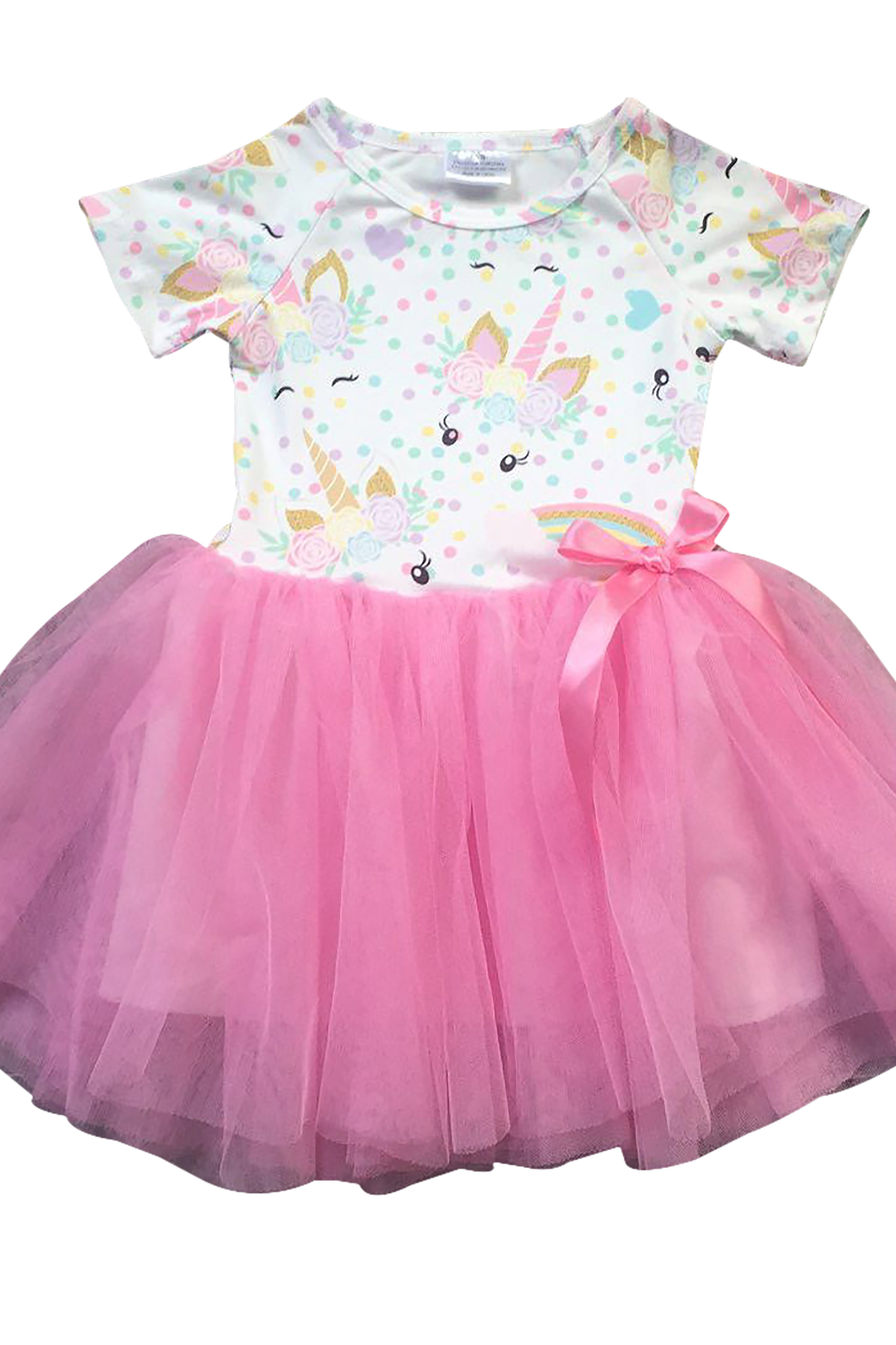 Little Girl Dress Kids Cap Sleeve Unicorn Mesh Summer Flower Girl Dress Pink 2T XS (201422)