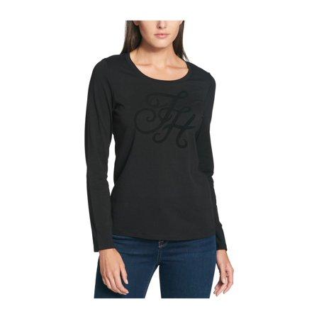 Tommy Hilfiger Womens Velvet Logo Graphic T-Shirt blk M - image 1 de 1