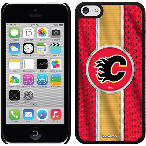 Calgary Flames Jersey Stripe Design on iPhone 5c Thinshield Snap-On Case by Coveroo