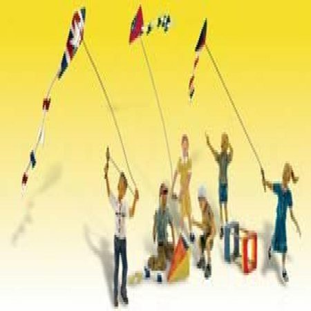 Windy Day Play (6 Figures Flying Kites) HO Scale Woodland Scenics