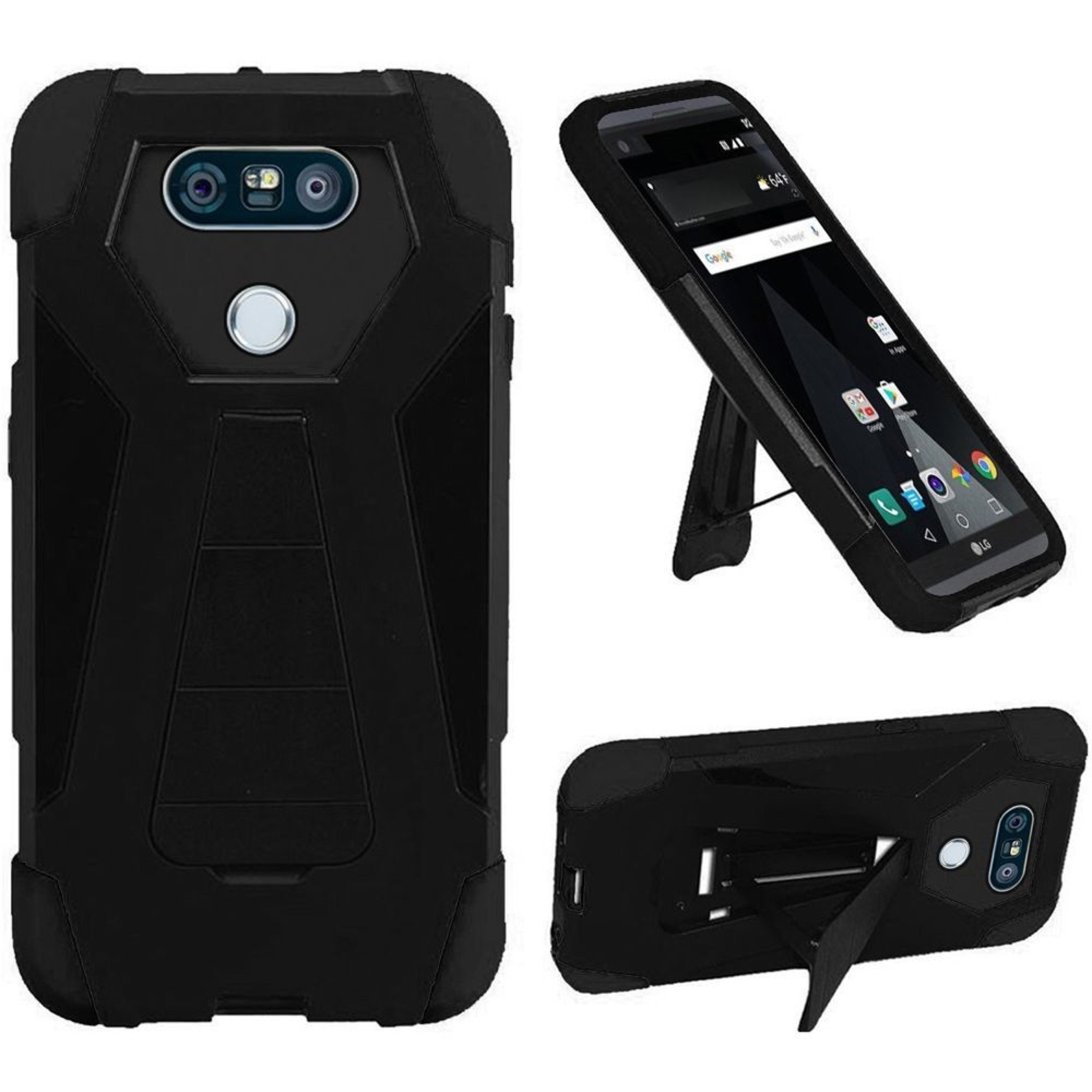 Insten Hard Dual Layer Silicone Cover Case w/stand For LG
