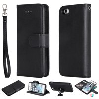 iPhone 5 5S Case Wallet, iPhone SE Case, Allytech Premium Leather Flip Case Cover & Card Slots Pocket, Support Wireless Charging Detachable Slim Case for Apple iPhone 5 5S SE (Black)