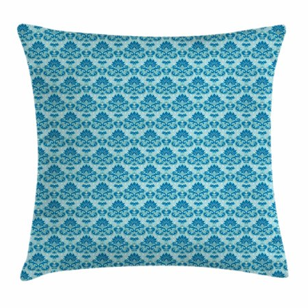 Damask Throw Pillow Cushion Cover Blue Colored Pattern With Western Adorable Western Style Decorative Pillows