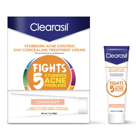 Clearasil Stubborn Acne Control 5in1 Concealing Treatment Cream, (Best Acne Treatment For African American Skin)