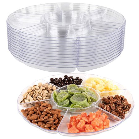 Impressive Creations Clear Round Plastic Serving Tray – 6 Compartment Reusable Party Supply Tray – Perfect for Serving Appetizers, Finger Foods, Dipping Sauce, and More (Appetizer Boat)