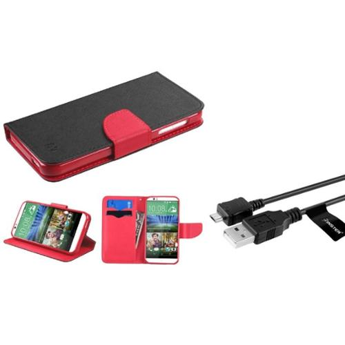 Insten Book-Style Leather Wallet Fabric Case with Card slot For HTC Desire 510 - Black/Red (+ Micro USB cable)