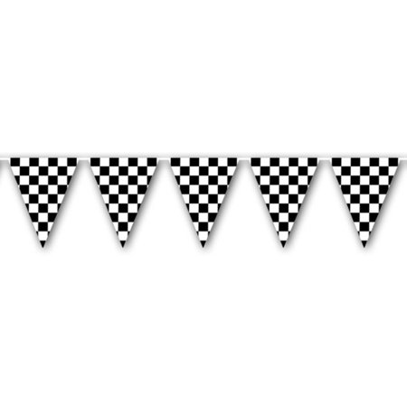 Checkered Racing Flag Pennant Streamer Party Celebration Banner Decoration (Checkered Flag Emoji)