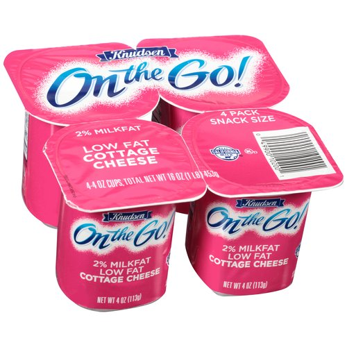 Knudsen On the Go! Low Fat Cottage Cheese, 4 oz, 4 count