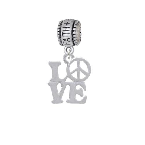 Love with Peace Sign - Faith Hope Love Charm Bead