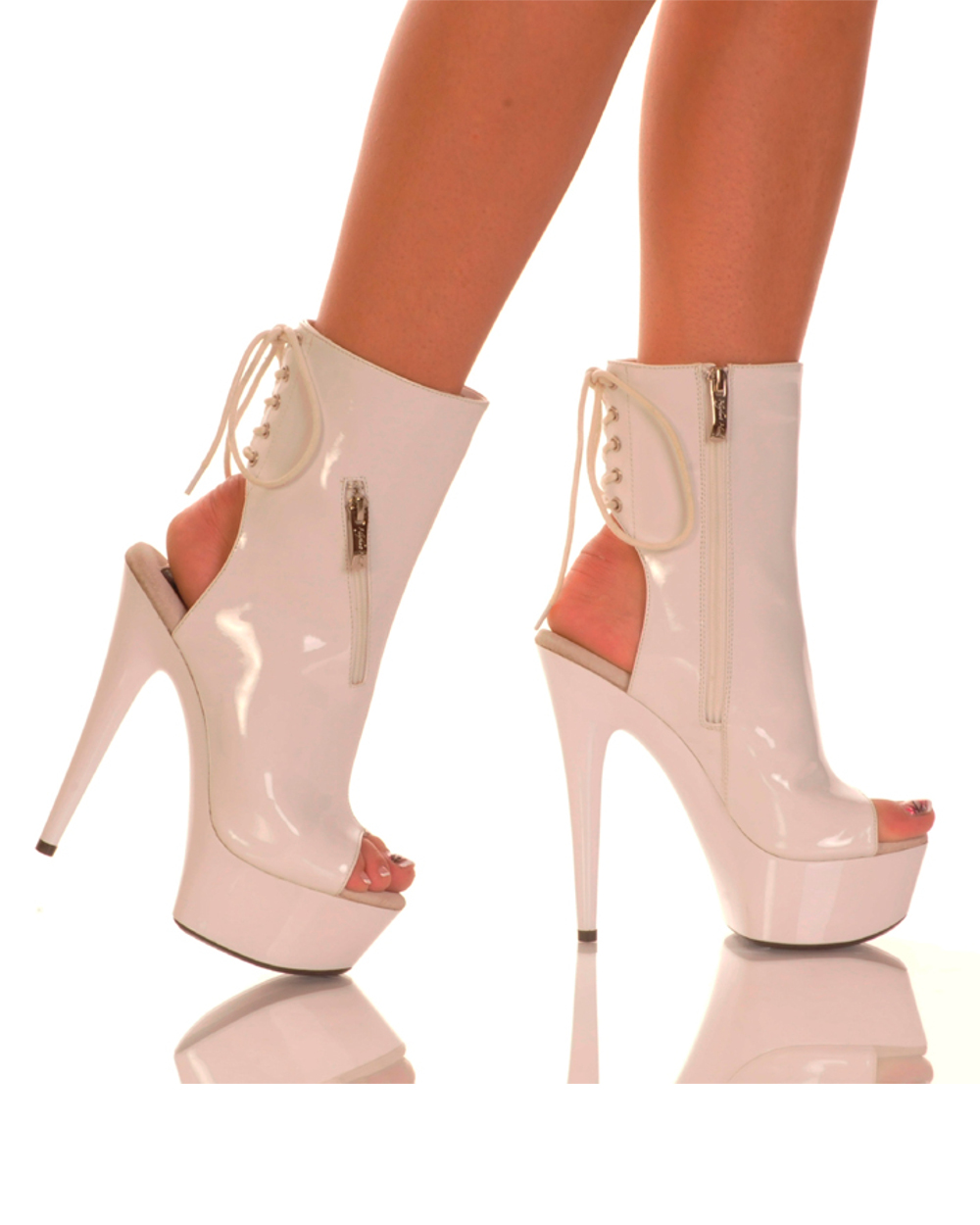 "Sexy Womens 6"" White Ankle Bootie With Functional Zipper Pocket Shoes"