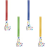 Rainbow Foil Party Blowers, 24 Count
