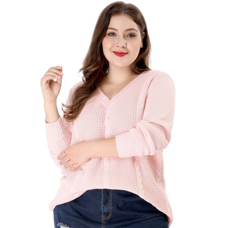 Women's Plus Size Cable Knit Long Sleeve V Neck Sweater Pink Plus Cable Knit Trim Sweaters